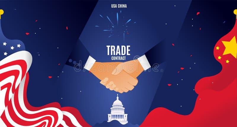 Vektorlägenheten Kina och USA handlar krigbegrepp För utbytestariff för affär global ekonomi för international Kinesisk USA flagg arkivfoto