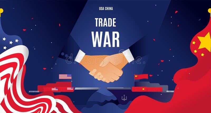 Vektorlägenheten Kina och USA handlar krigbegrepp För utbytestariff för affär global ekonomi för international Kinesisk USA flagg fotografering för bildbyråer