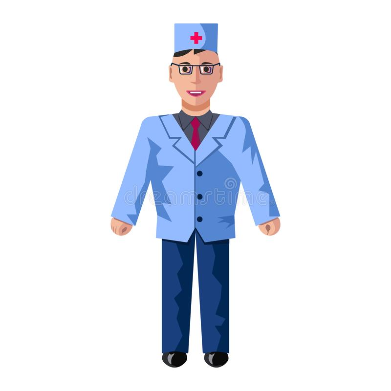 Vektorlägenhetillustrationen av doktorn med den blåa badrocken royaltyfri illustrationer