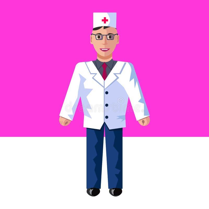 Vektorlägenhetillustrationen av doktorn på en rosa bakgrund stock illustrationer