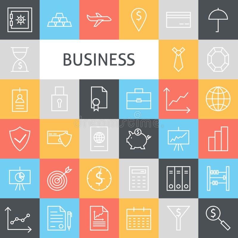 Vektorlägenhetlinje Art Modern Business Icons Set stock illustrationer