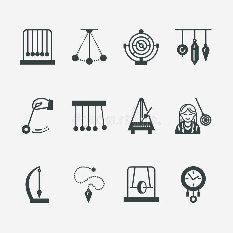 Vektorlägenhetlinje symbol av klockpendeltyper Newton vagga, metronom, tabellklockpendel, perpetuum mobile, gyroskop linjärt stock illustrationer