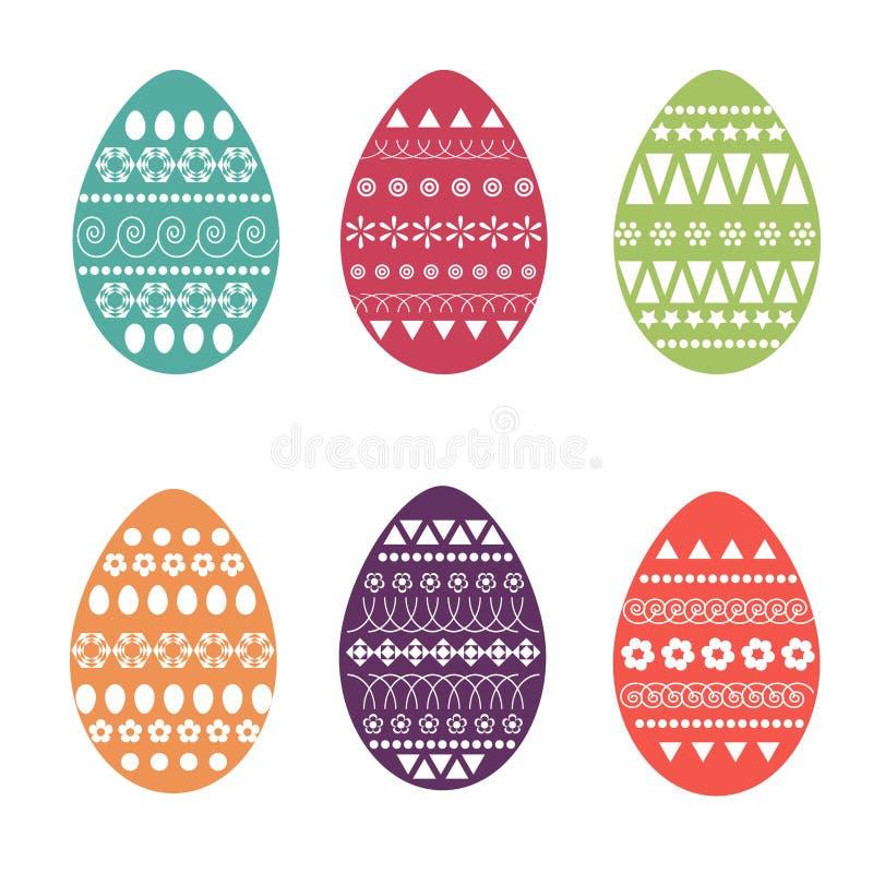 Vektorlägenhetuppsättning av färgrika och utsmyckade easter ägg Nytt och fjädra designen för hälsningkort, textilen, häftet, tyg, stock illustrationer