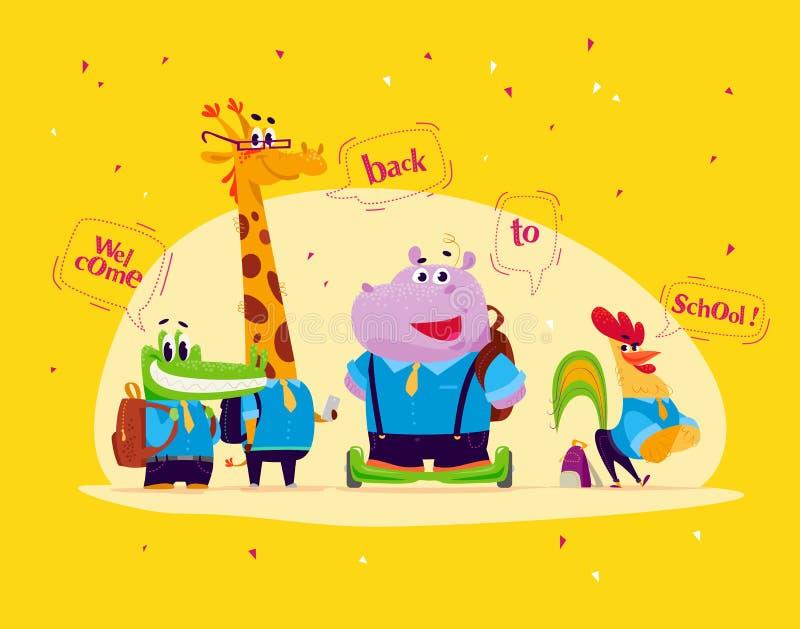 Vektorlägenhetuppsättningen av djura studenter för lycklig tecknad film som står med anförande, bubblar på gul bakgrund stock illustrationer
