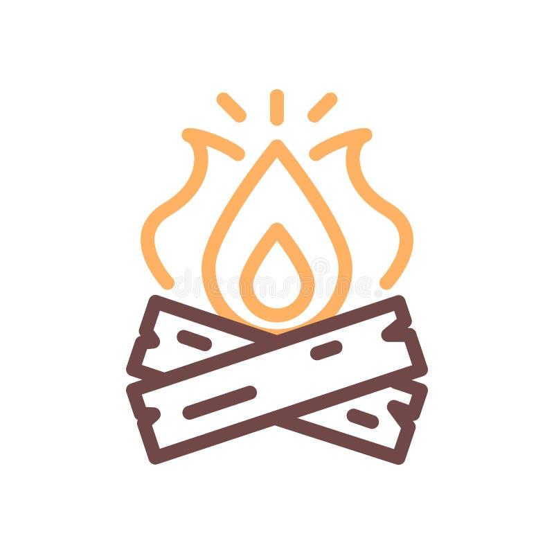 Vektorlägereldsymbol Tunn linje illustration för utomhus- affärsföretag som campar, sommarsemestrar, brand på journaler royaltyfri illustrationer