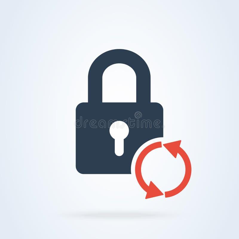 Vektorlås att återställa och nollställa symbolen säkerhetslösenordillustration stock illustrationer