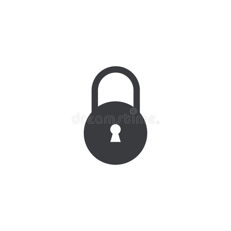 Vektorlåssymbolen isolerade Låsform med nyckelhålet App eller website för designbeståndsdel mobil Vektormanöverenhetsknapp Nära s royaltyfri illustrationer