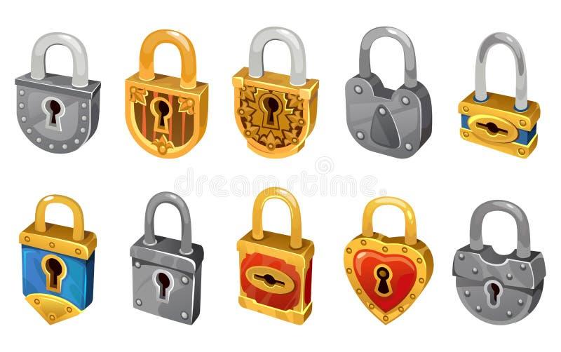Vektorlåsuppsättning som isoleras på vit bakgrund för säkerhetsskydd Symboler för låsa mekanism för vektor för rengöringsdukdesig royaltyfri illustrationer