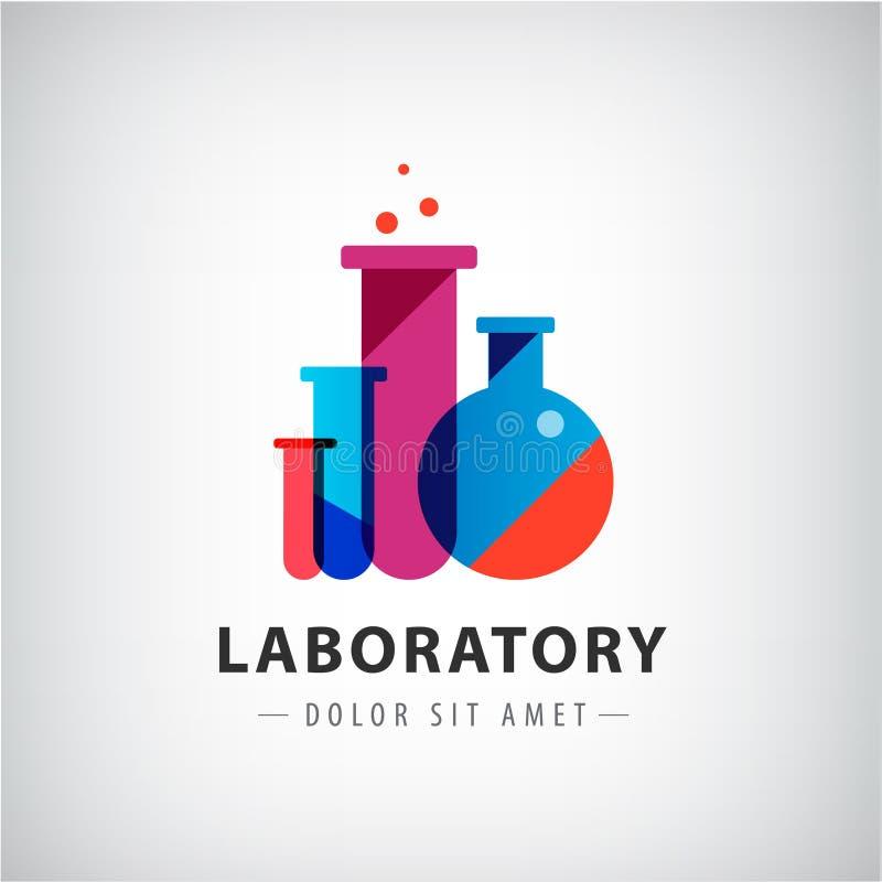 Vektorlaboratorium, kemikalie, logo för medicinskt prov vektor illustrationer