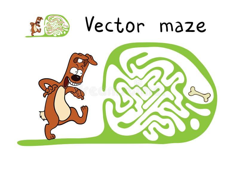 Vektorlabyrint, labyrint med hunden vektor illustrationer