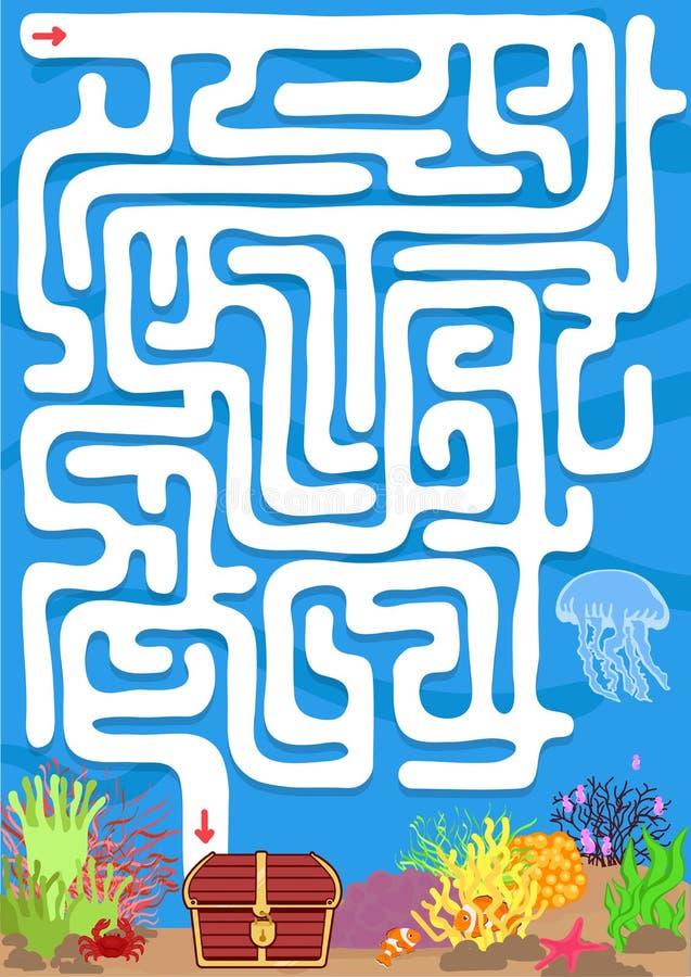 Vektorlabyrinthspiel mit finden Schatz Unterwasser stock abbildung