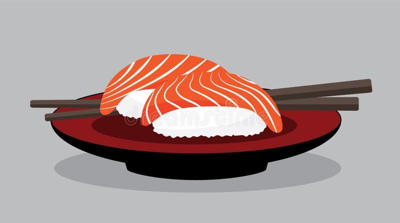 Vektorlachssushisatz, Japan-Nahrung lizenzfreie abbildung