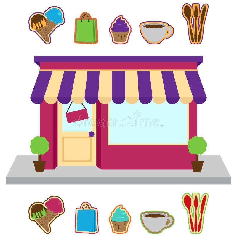 Vektorlagret eller shoppar med tecken vektor illustrationer
