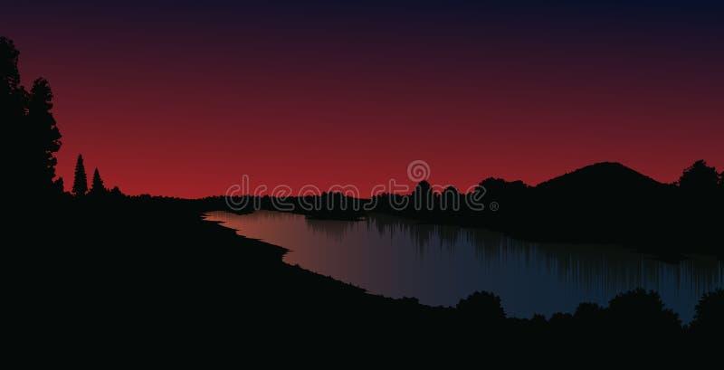 Vektorlandschaft mit Sonnenuntergang oder Sonnenaufgang lizenzfreie stockfotografie