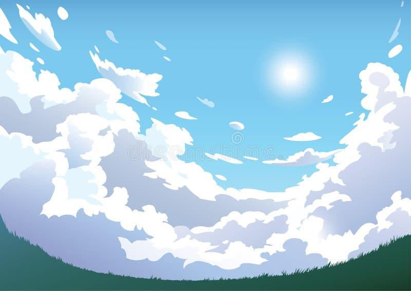 Vektorlandschaftshimmelwolken Flugzeug im Himmel stock abbildung