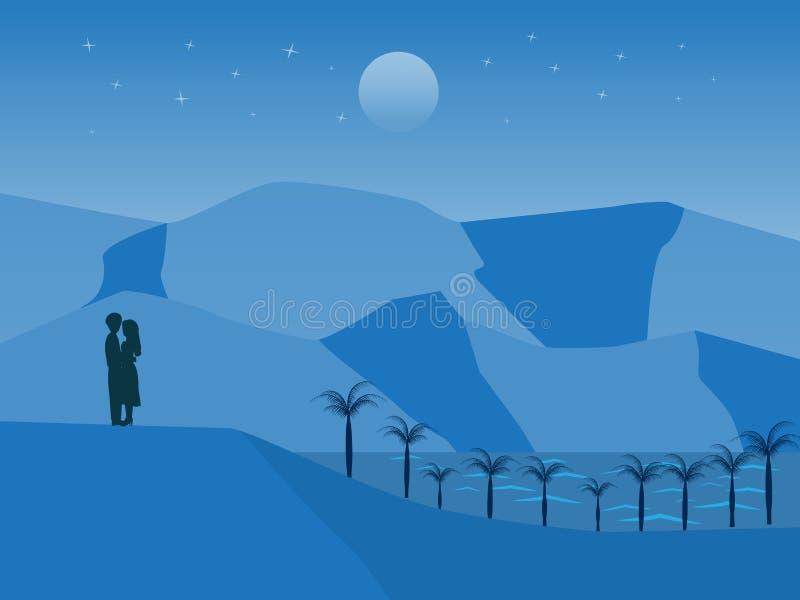 Vektorlandskap med par som står på kullen stock illustrationer