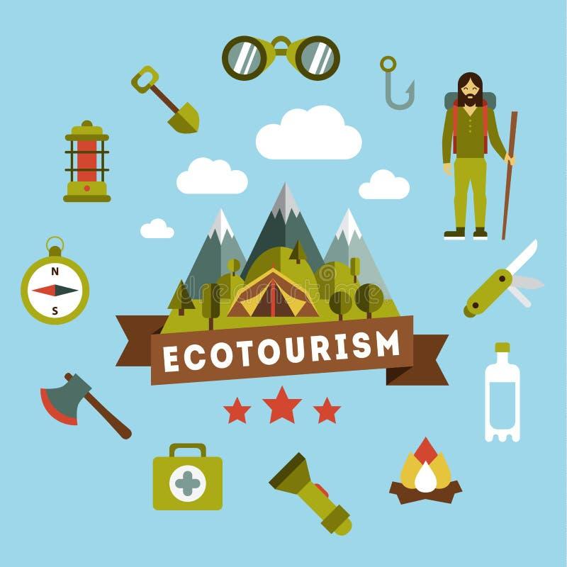Vektorlandskap som visar en campingplats picknick royaltyfri illustrationer