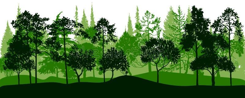 Vektorlandskapet med sörjer träd vektor illustrationer