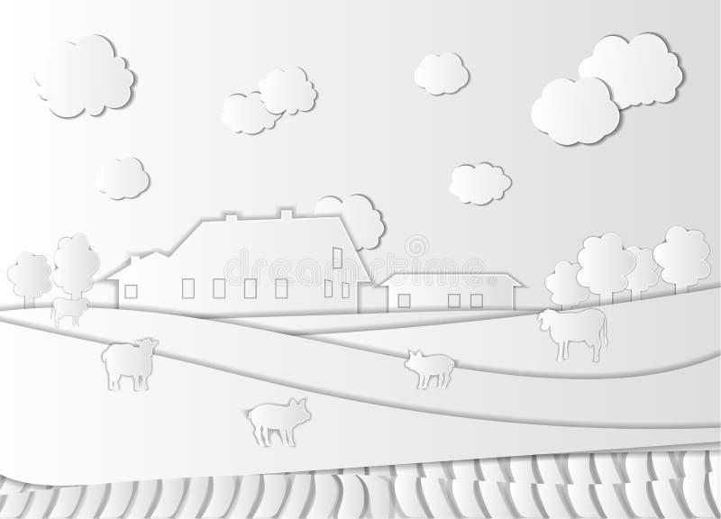 Vektorlantgård, papper Art Style, lantgårdhus, djur, fält och molnig himmel, utklipppappersstycken royaltyfri illustrationer