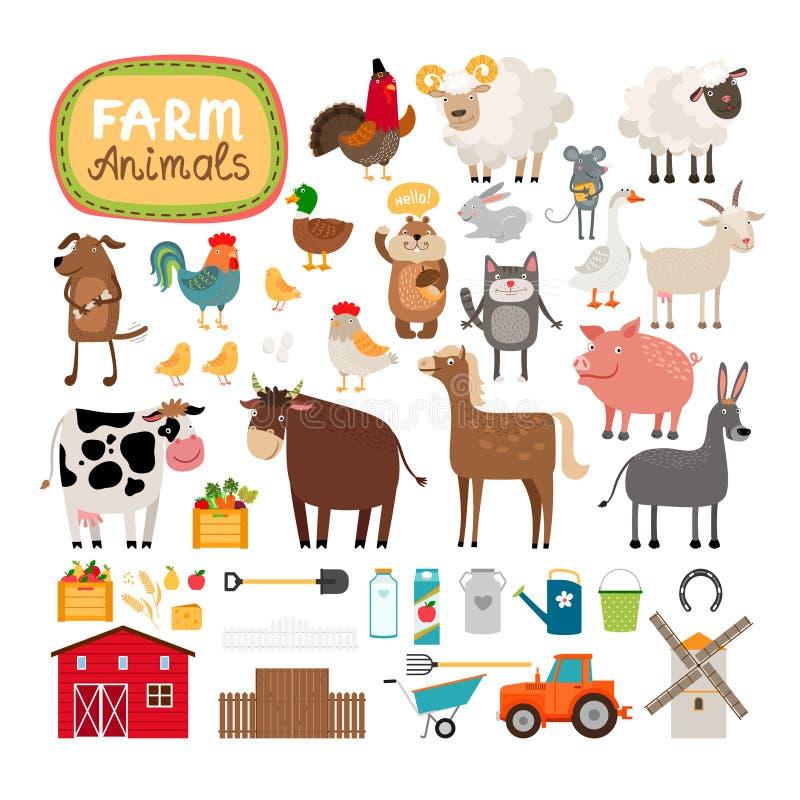 Vektorlantgårddjur stock illustrationer