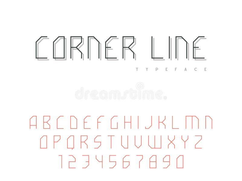 Vektorlateinische Versalienalphabetbuchstaben und -zahlen Abstrakter linearer Guss lizenzfreie abbildung