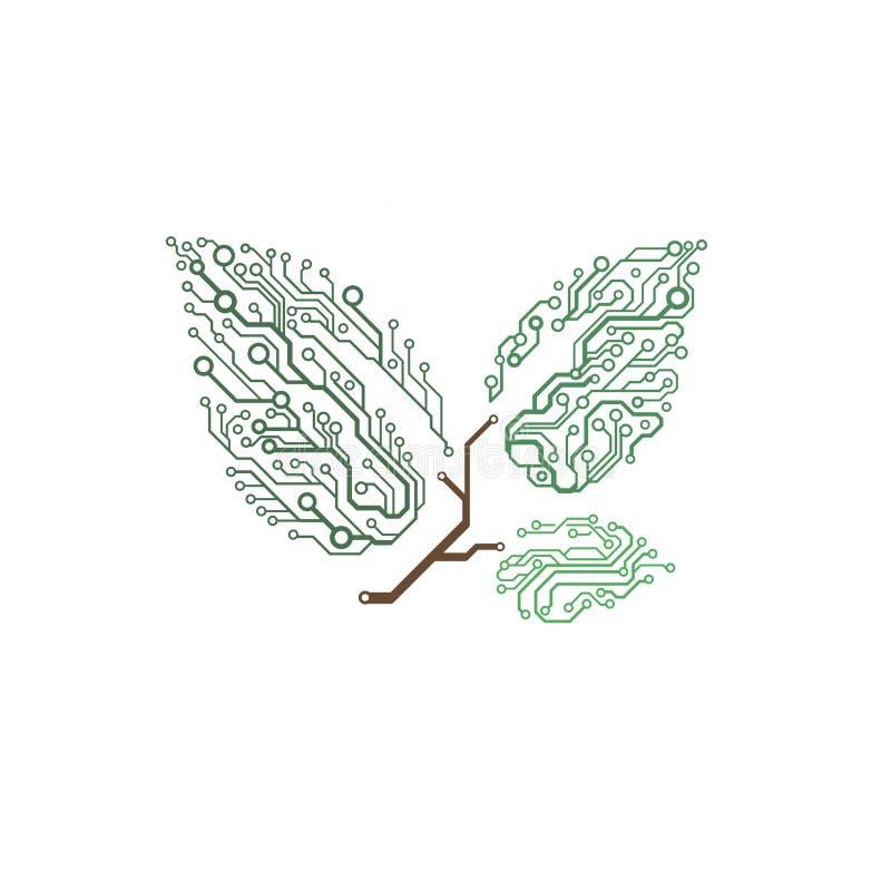VektorLeiterplattezweig mit Blättern vektor abbildung