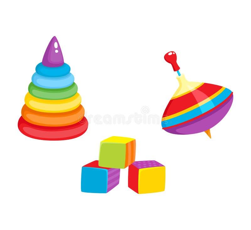 Vektorleksaker - pyramid, kubikkvarter, karusellleksak royaltyfri illustrationer