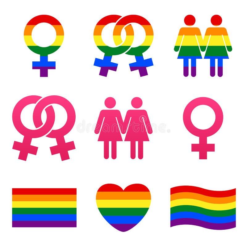 Vektorlesbisk kvinnasymboler royaltyfri illustrationer