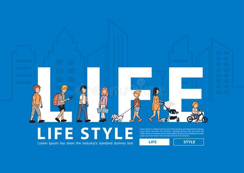 Vektorleute-Lebensstil, der mit flachen großen Buchstaben in der Linie Stadtgebäude geht lizenzfreie abbildung