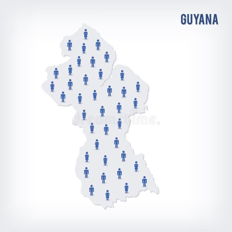 Vektorleutekarte von Guyana Das Konzept der Bevölkerung stock abbildung