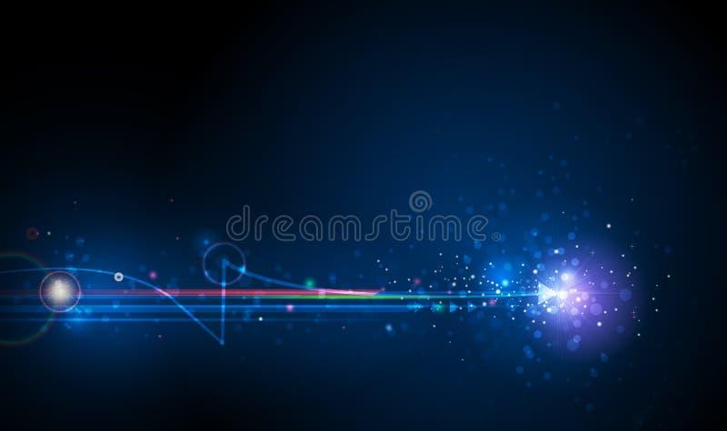 Vektorlichtstrahlen, Streifenlinien mit Blaulicht, Geschwindigkeit und Bewegungsunschärfe über dunkelblauem Hintergrund vektor abbildung