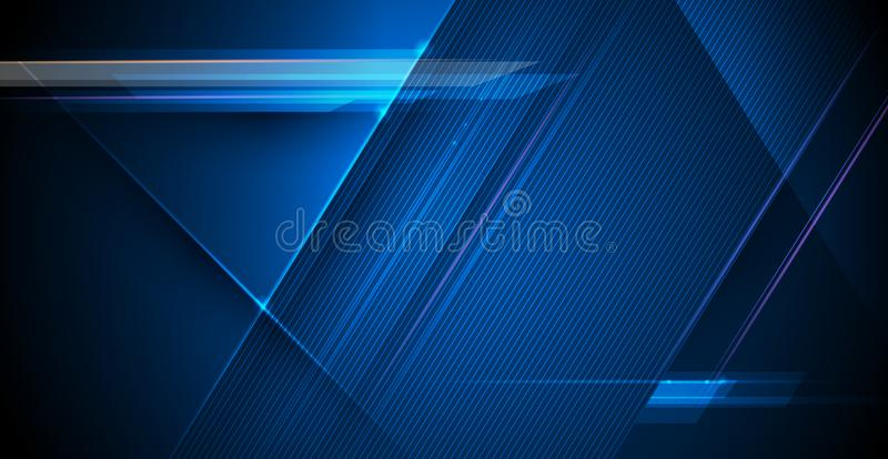 Vektorlichtstrahlen, Streifenlinien mit Blaulicht, Geschwindigkeit und Bewegungsunschärfe über dunkelblauem Hintergrund lizenzfreie abbildung