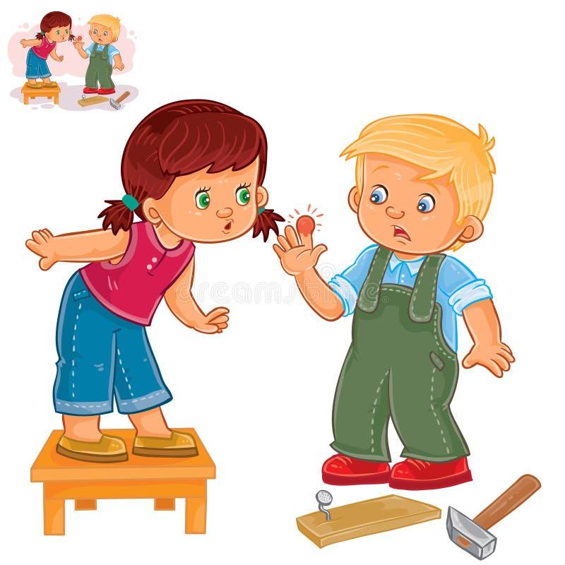 Vektorlilla flickan sympatiserar med lite pojken som slogg ett finger med en hammare stock illustrationer