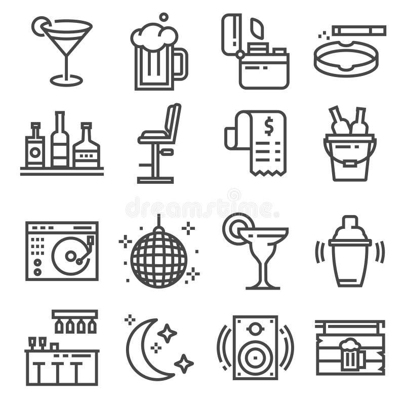 Vektorlinie Bar und Kneipenikonen eingestellt lizenzfreie abbildung