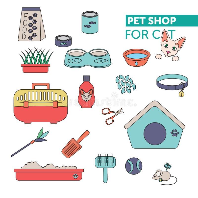 Vektorlinie Farbikone gesetztes Geschäft für Haustiere lizenzfreies stockbild
