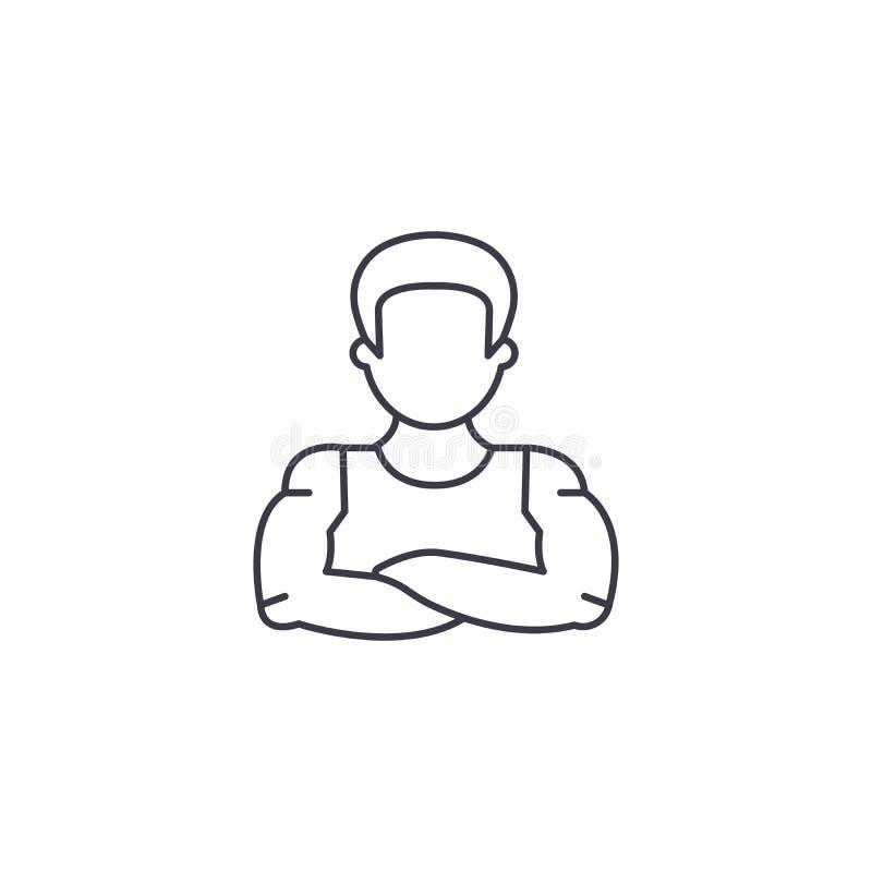 Vektorlinie Ikone, Zeichen, Illustration des starken Mannes auf Hintergrund, editable Anschläge vektor abbildung