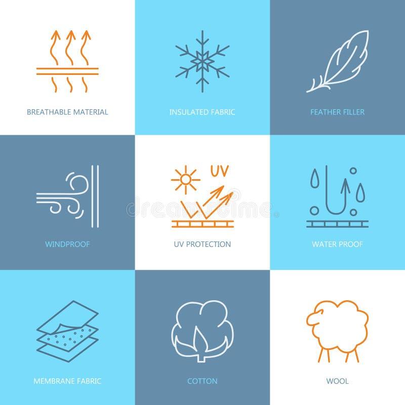 Vektorlinie Ikonen der Gewebefunktion, Kleidereigentumssymbole Elemente - Windbeweis, Wolle, wasserdichter, UVschutz Lineares wea vektor abbildung
