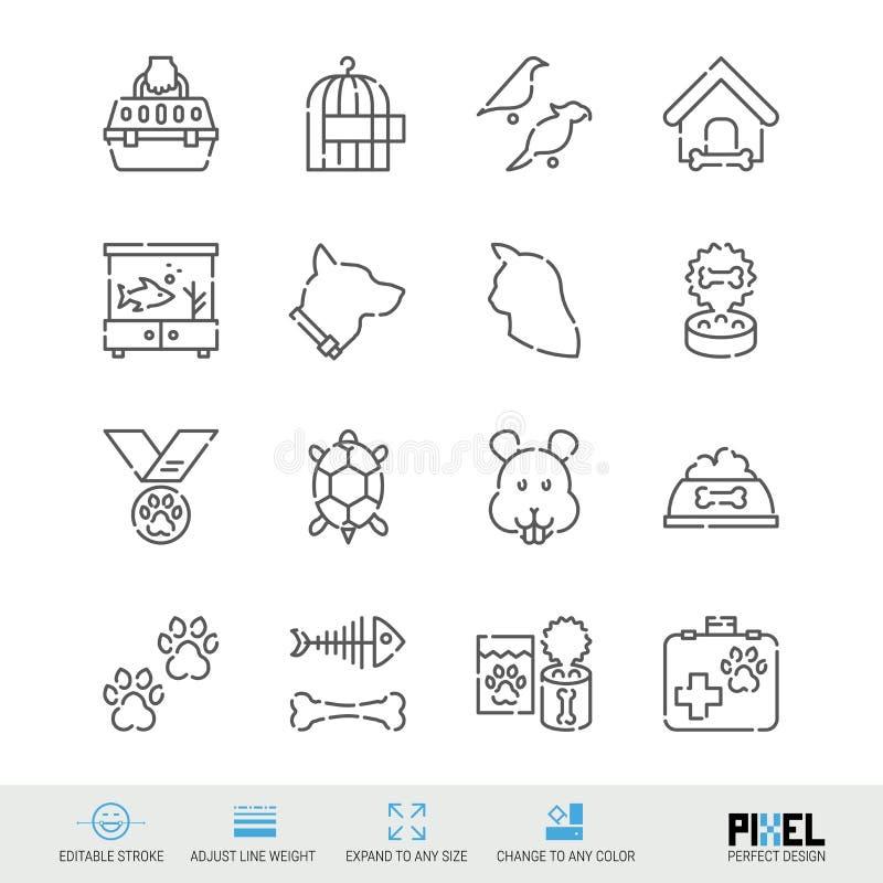 Vektorlinie Ikonensatz Haustier-in Verbindung stehende lineare Ikonen Haustier-Versorgungs-Symbole, Piktogramme, Zeichen vektor abbildung