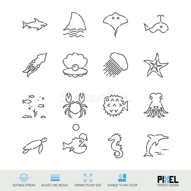 Vektorlinie Ikonensatz Marine Life Related Linear Icons Meerestiere, Tier-Symbole, Piktogramme, Zeichen stock abbildung