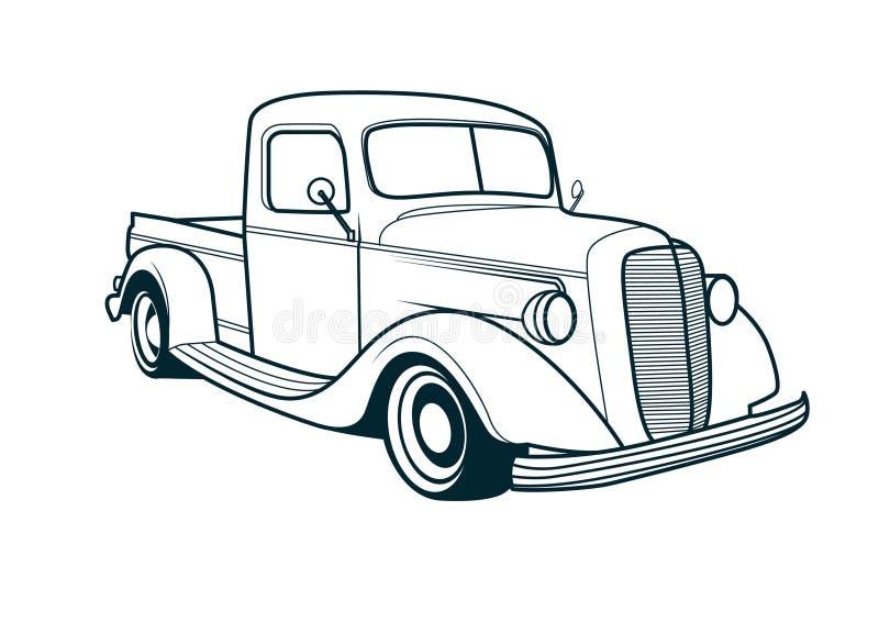 Vektorlinie Kunst des klassischen LKW-Autos vektor abbildung