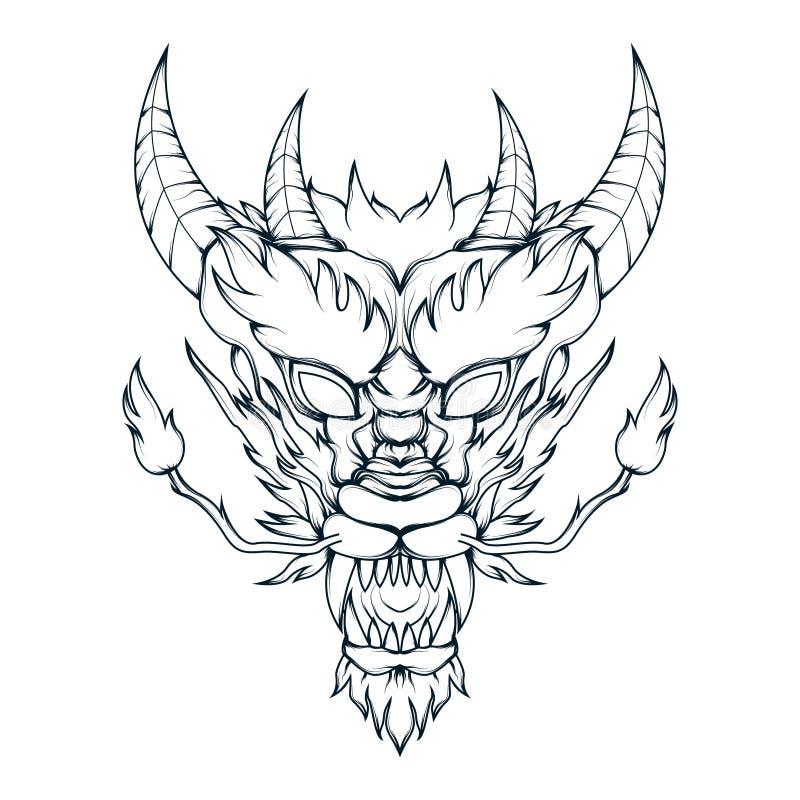 Vektorlinie Kunst des mythischen Drachekopfes Ausführliche Illustration eines gehörnten mythologischen Drachekopfes lizenzfreie abbildung