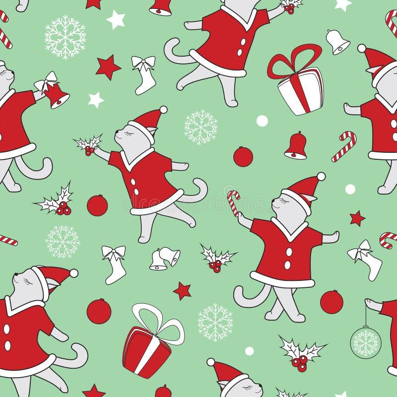 Vektorlinie nette tanzende Katzenillustration des Kunstgekritzels Weihnachtsnahtloses Muster stock abbildung
