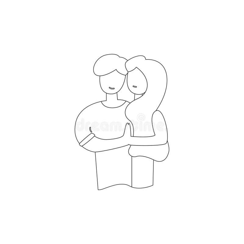 Vektorlinie romantischer Verhältnis-Kerl, der Frau umarmt stock abbildung