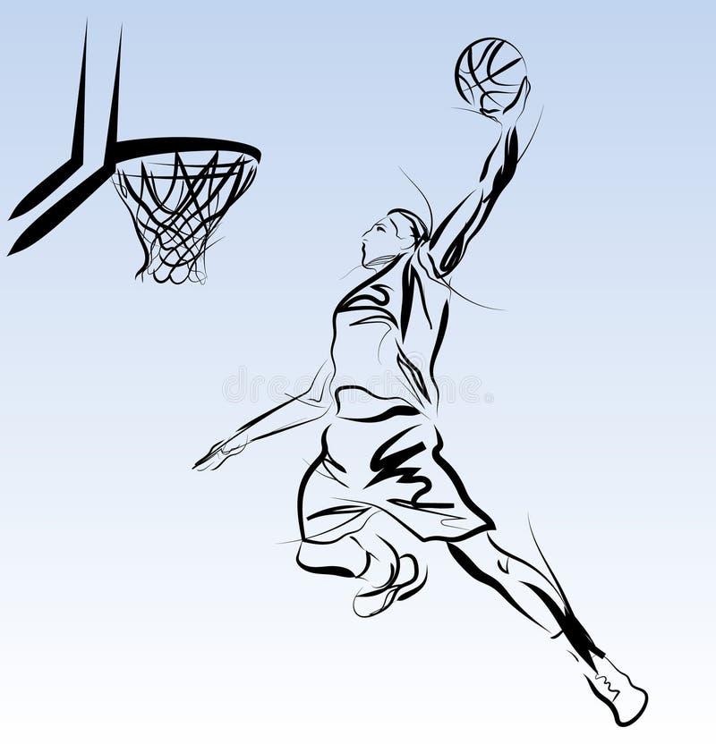 Vektorlinie Skizze Eines Basketball-Spielers Vektor Abbildung ...
