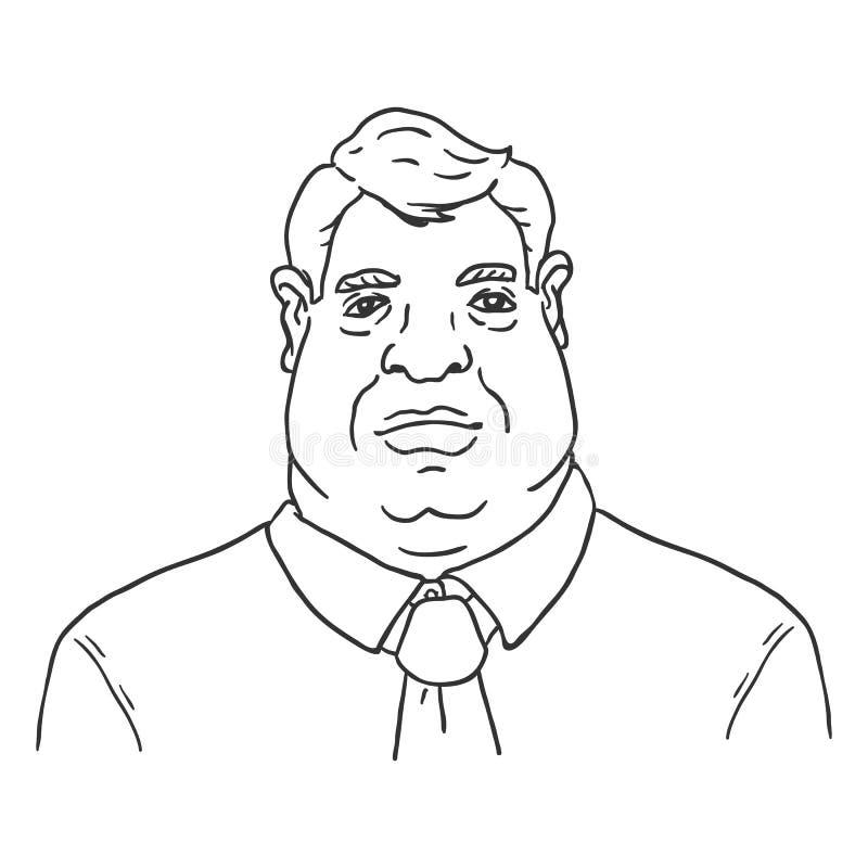 Vektorlinje Art Business Avatar - fet man i skjorta och slips royaltyfri illustrationer