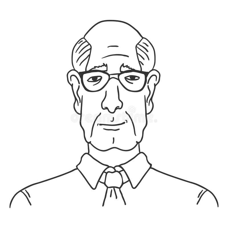 Vektorlinje Art Business Avatar - gammal skallig man i skjorta och slips stock illustrationer