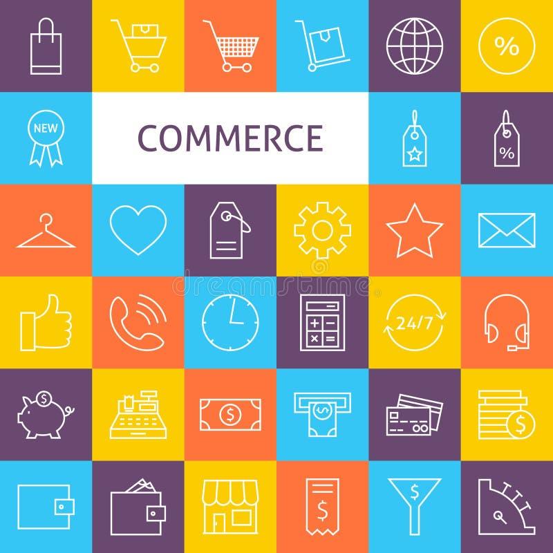 Vektorlinje Art Commerce Icons Set vektor illustrationer
