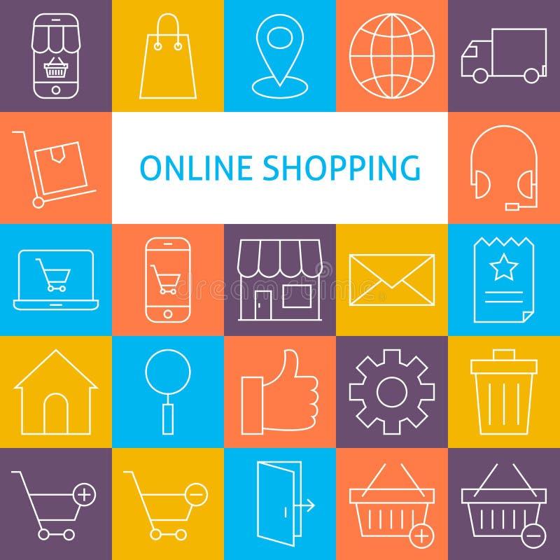 Vektorlinje Art Modern Online Shopping Icons uppsättning royaltyfri illustrationer