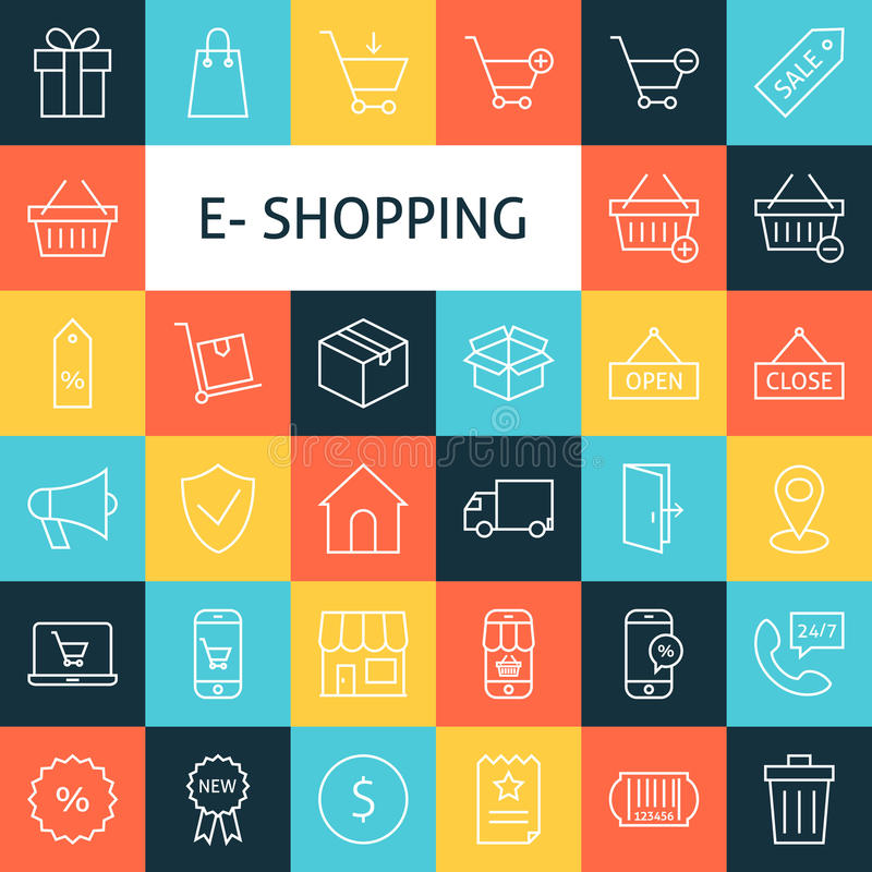Vektorlinje Art Online Shopping Icons Set vektor illustrationer