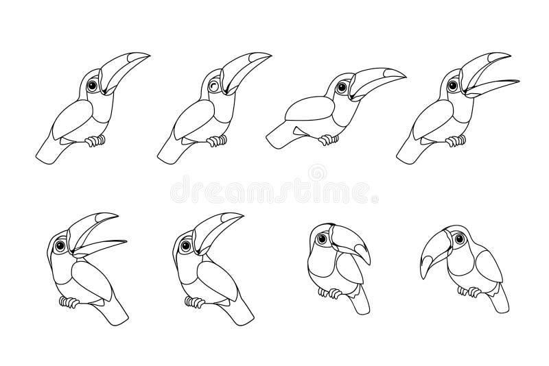 Vektorlinje djur clipart för tecknad film vektor illustrationer